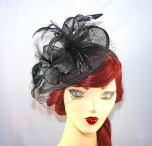 Black Fascinator Hat With Veil