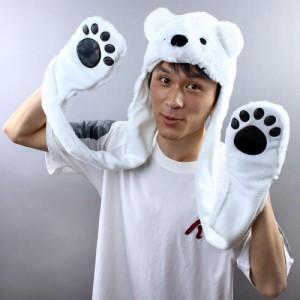 Polar Bear Hat with Paws