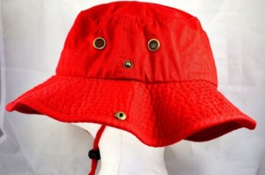 Red Bucket Hat with String
