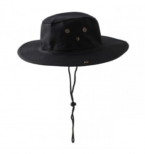 Black Bucket Hat with String