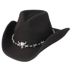 Black Cowboy Hat with Skull