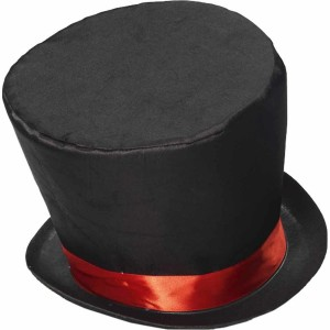 Black Top Hat with Red Band