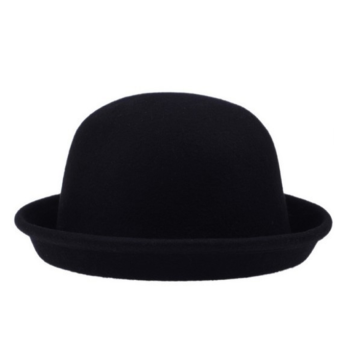 the English Bowler hat by Jaxon. This is a great looking bowler with all the classic trimmings and doesn't break the bank. Made in the classic bowler/derby hat tradition - the English Bowler hat has a stiff finish and features a round crown, curled brim, grosgrain ribbon hat band and edge.