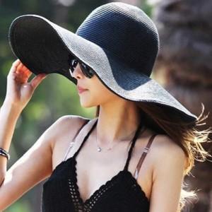 Black Floppy Straw Hat