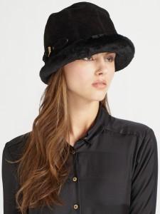 Black Shearling Hat