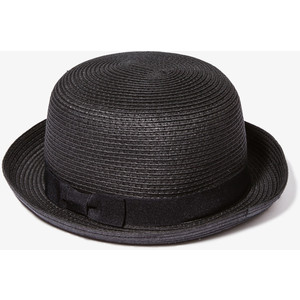 Black Straw Bowler Hat