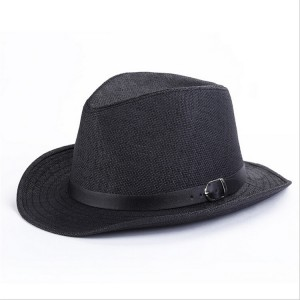 Black Straw Fedora Hats for Men