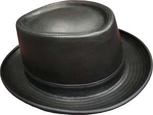 Leather Pork Pie Hat