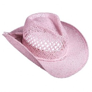 Pink Straw Cowboy Hat