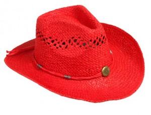 Red Straw Cowboy Hat