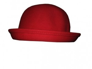Red Wool Bowler Hat