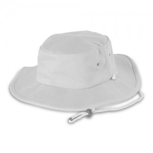 White Bucket Hat With String