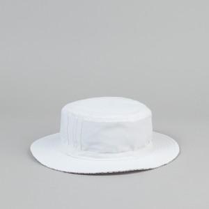 White Bucket Hat on Head
