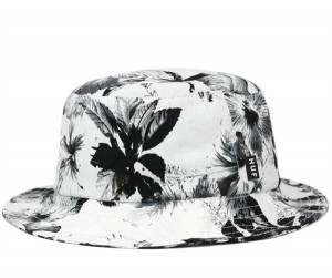 White Bucket Hat with Flowers