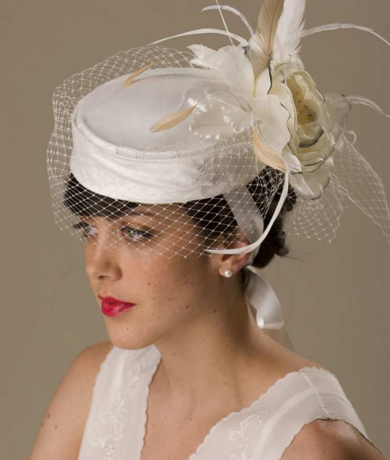 White Pillbox Bridal Hat