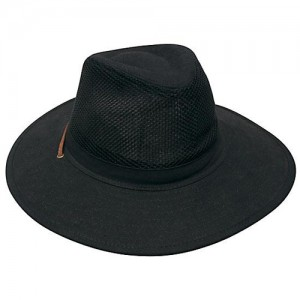 Wide Brim Straw Hat Black