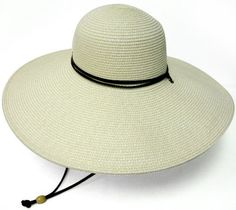 Wide Brim Straw Hat With Chin Strap