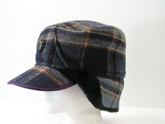 wool baseball hat with ear flaps cap fleece lined broncos winter hats men