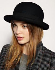 Womens Black Bowler Hat