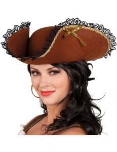 Womens Brown Pirate Hat