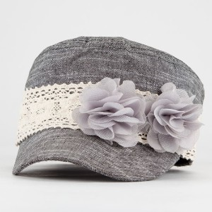 Women's Military Hat with Flower