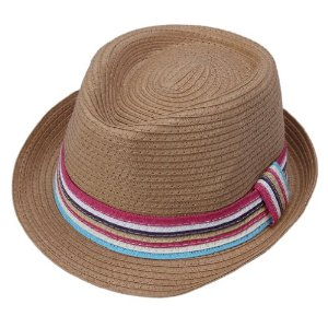 Womens Straw Fedora Hat