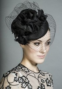 Black Pillbox Hat with Veil