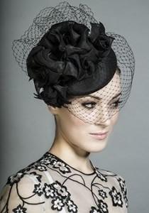 Black Pillbox Hat with Veil