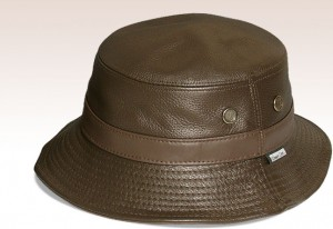 Mens Leather Bucket Hat