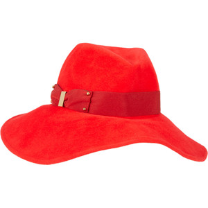 Red Wide Brim Fedora Hat