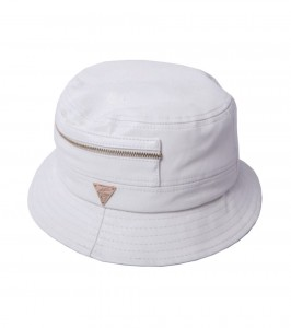 White Leather Bucket Hat